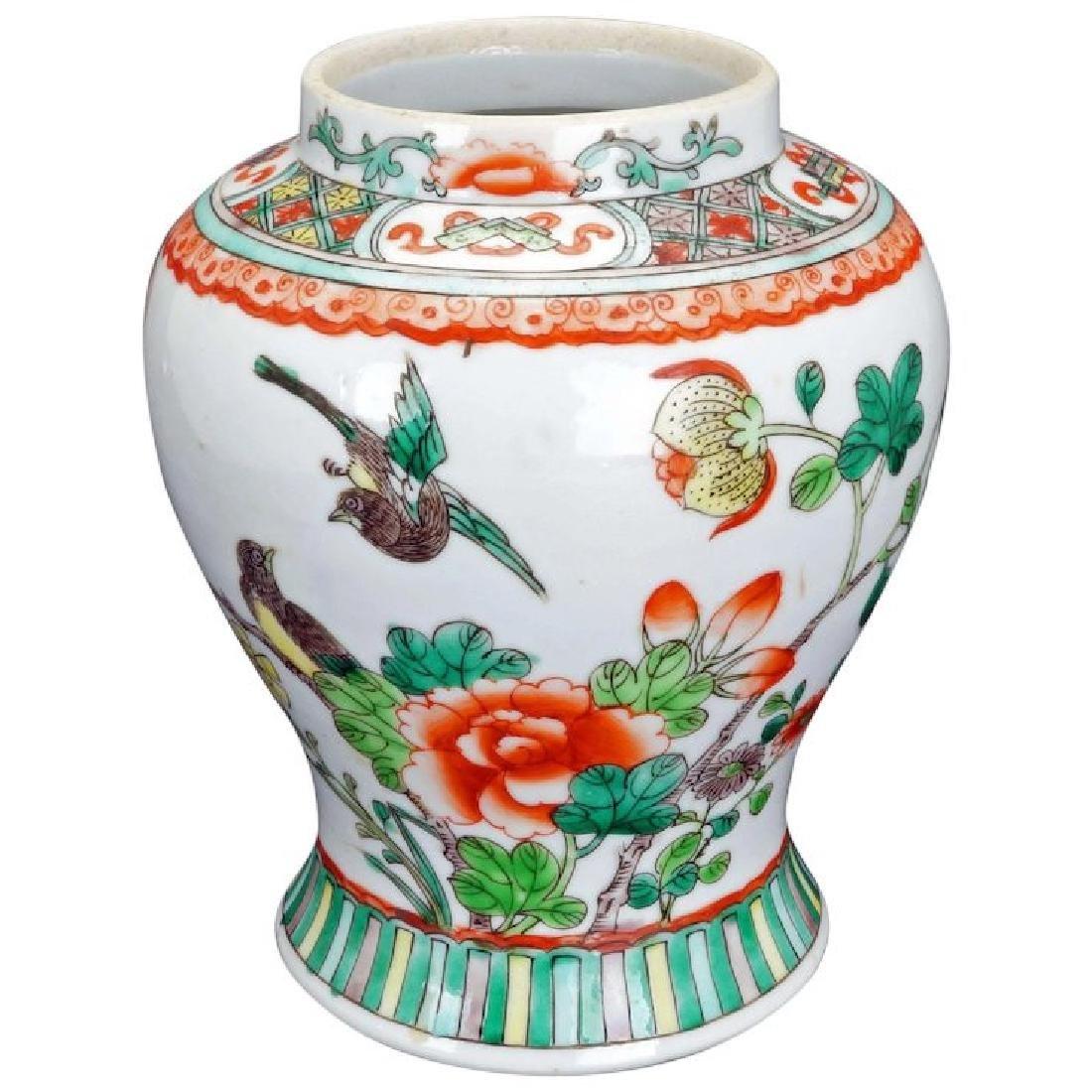 Antique Chinese porcelain over glaze enamel vase circa