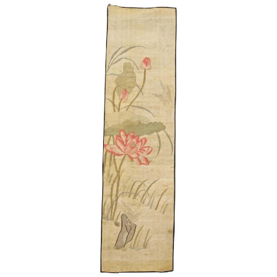 Chinese long narrow Kesi panel of lotus and birds 19th