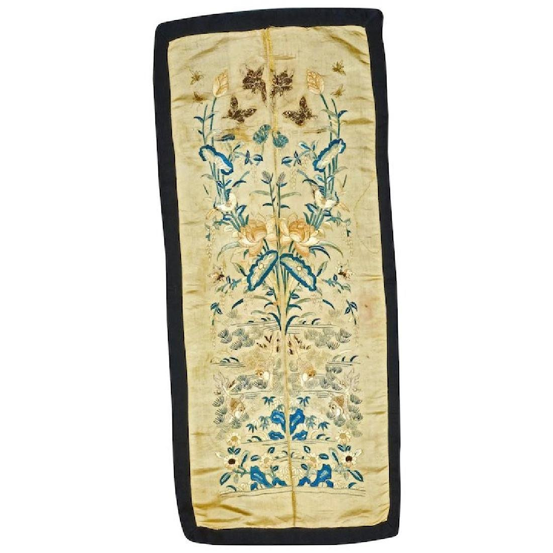 Chinese silk mirror image embroidered sleeve panels of