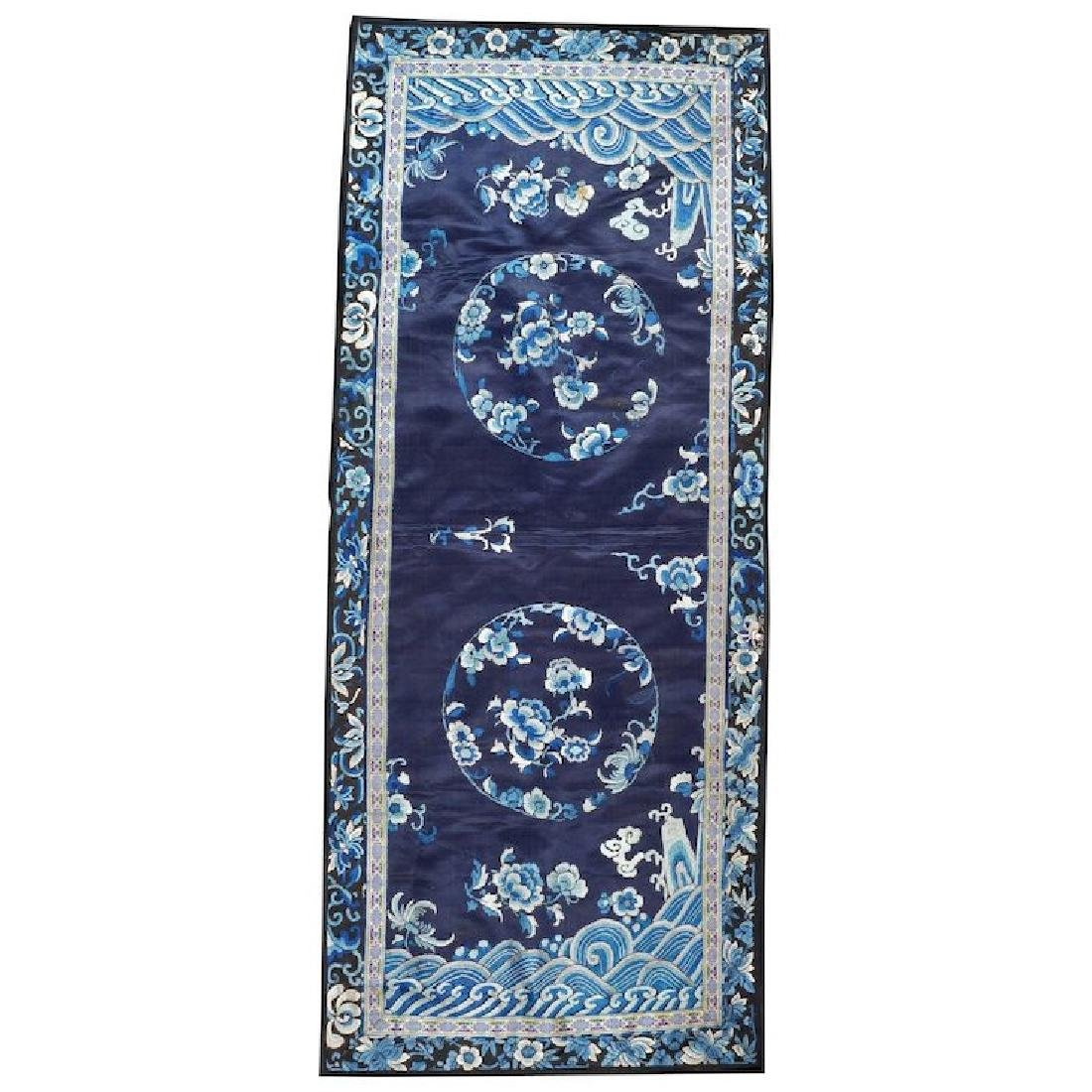 Antique Chinese silk embroidery blue on blue with waves