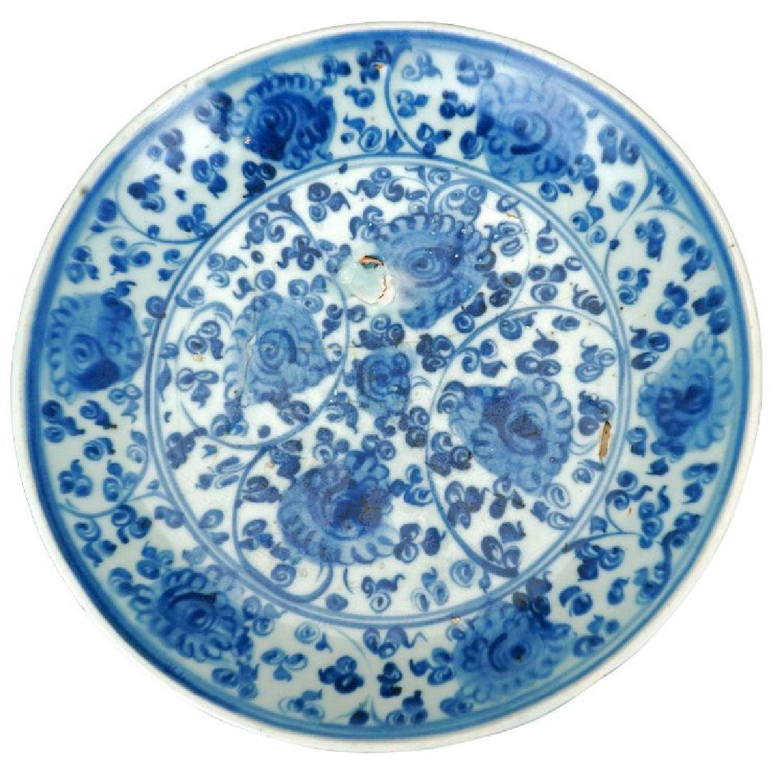 Large and deep Chinese Ming blue and white porcelain