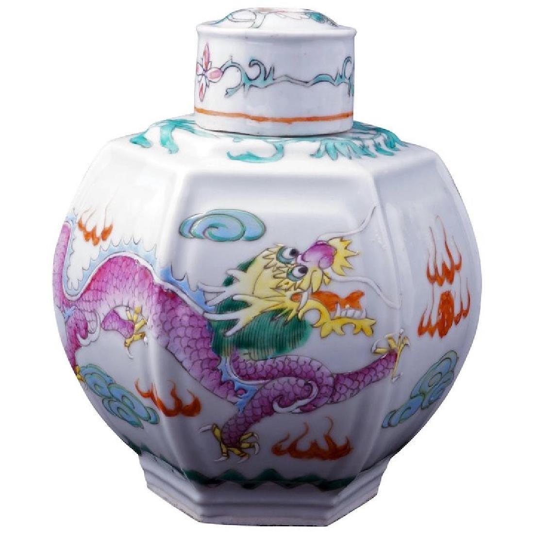 Circa 1900 Chinese porcelain six sided over glaze