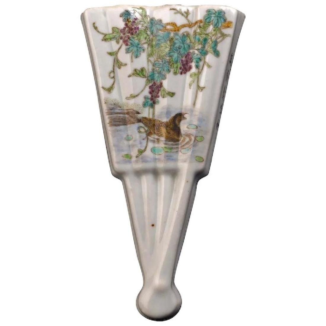 Chinese porcelain fan shaped wall pocket with wisteria