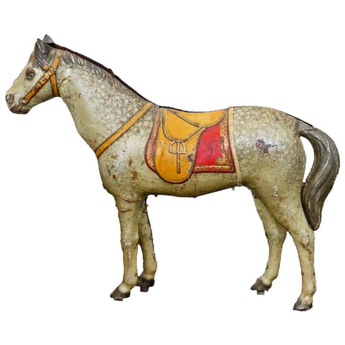 Antique tin lithographed horse toy c 1880