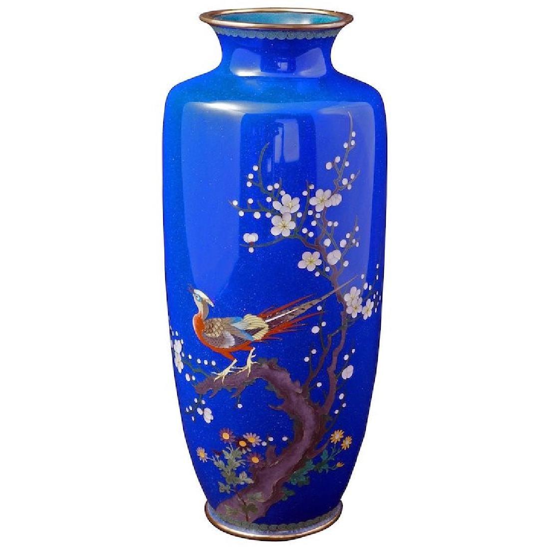 Meiji Japanese blue cloisonné vase with pheasant