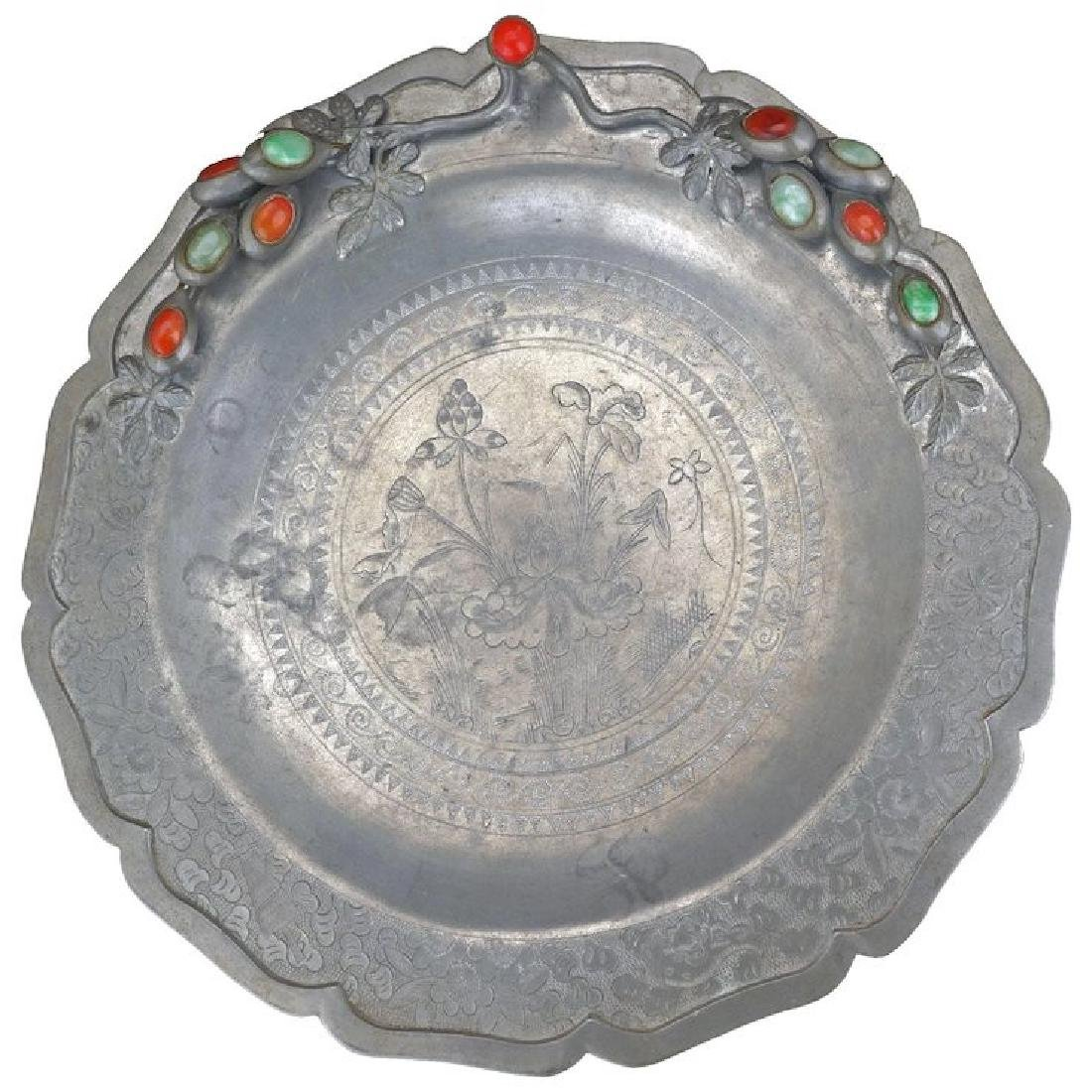Chinese pewter foliate rim charger with jade and