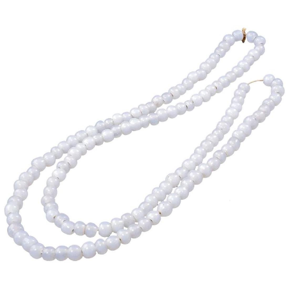 Chinese White Peking glass trade bead necklace on a