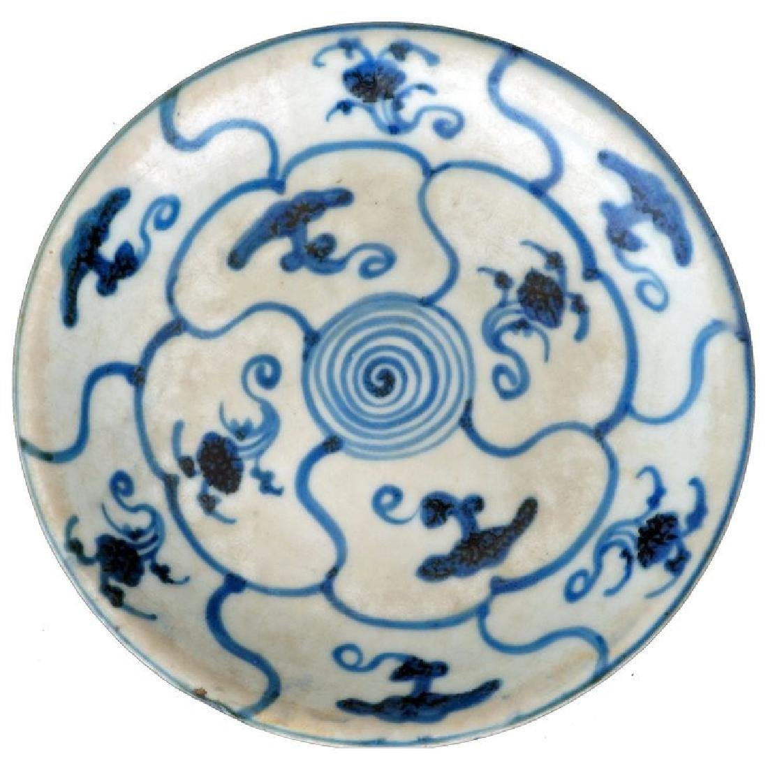 Chinese Ming porcelain blue and white dish with fungus