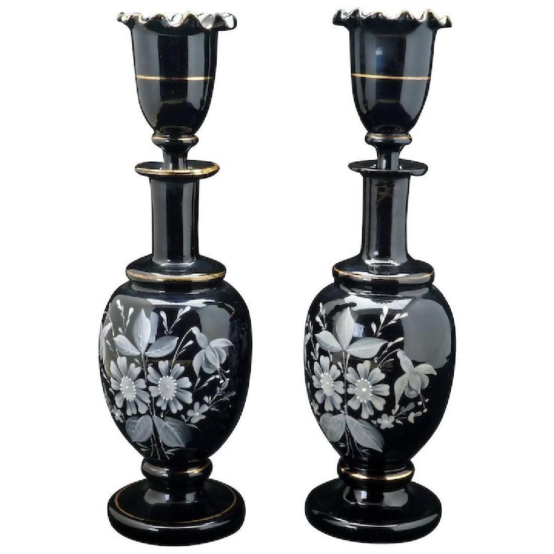 Pair of matching Victorian Bristol amethyst glass