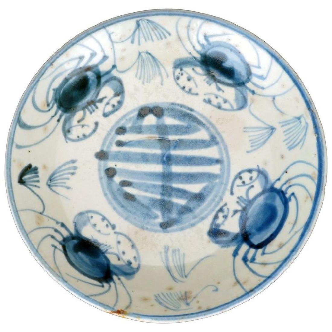 Ming Swatow blue and white porcelain dish with crab and