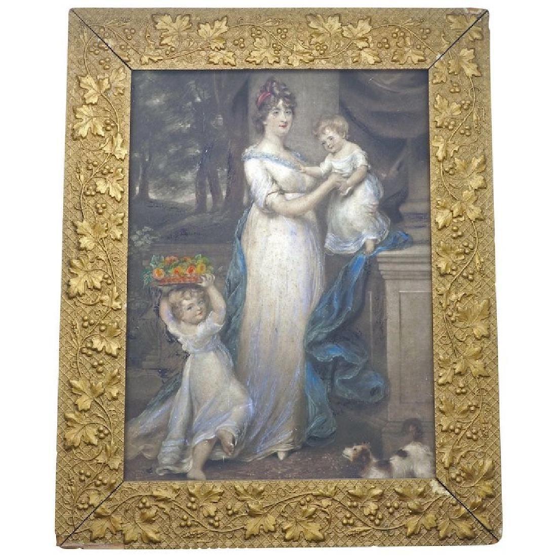"Framed Antique English Mezzotint print ""Mrs Scott"