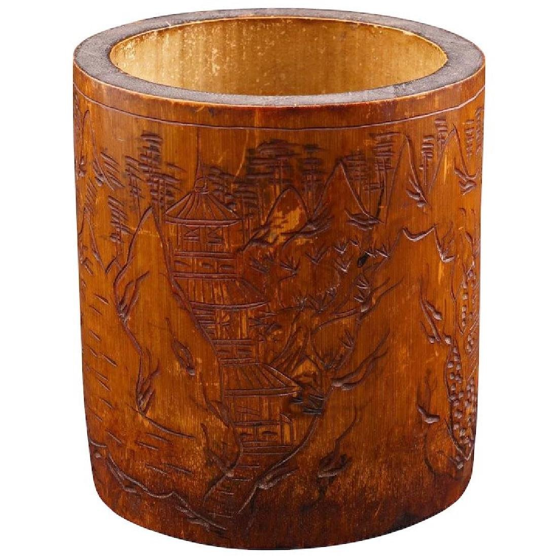 Chinese bamboo brush pot with incised carving early