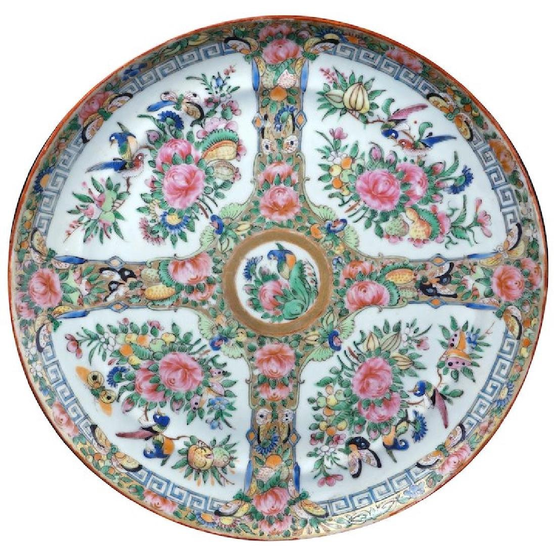 Large Chinese porcelain rose medallion 10†plate 19th