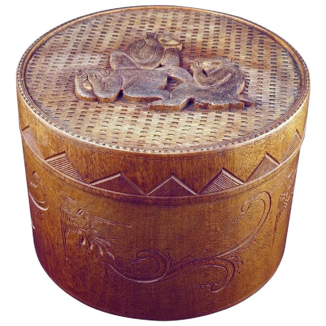 Japanese vintage wood carved lidded cylindrical box or