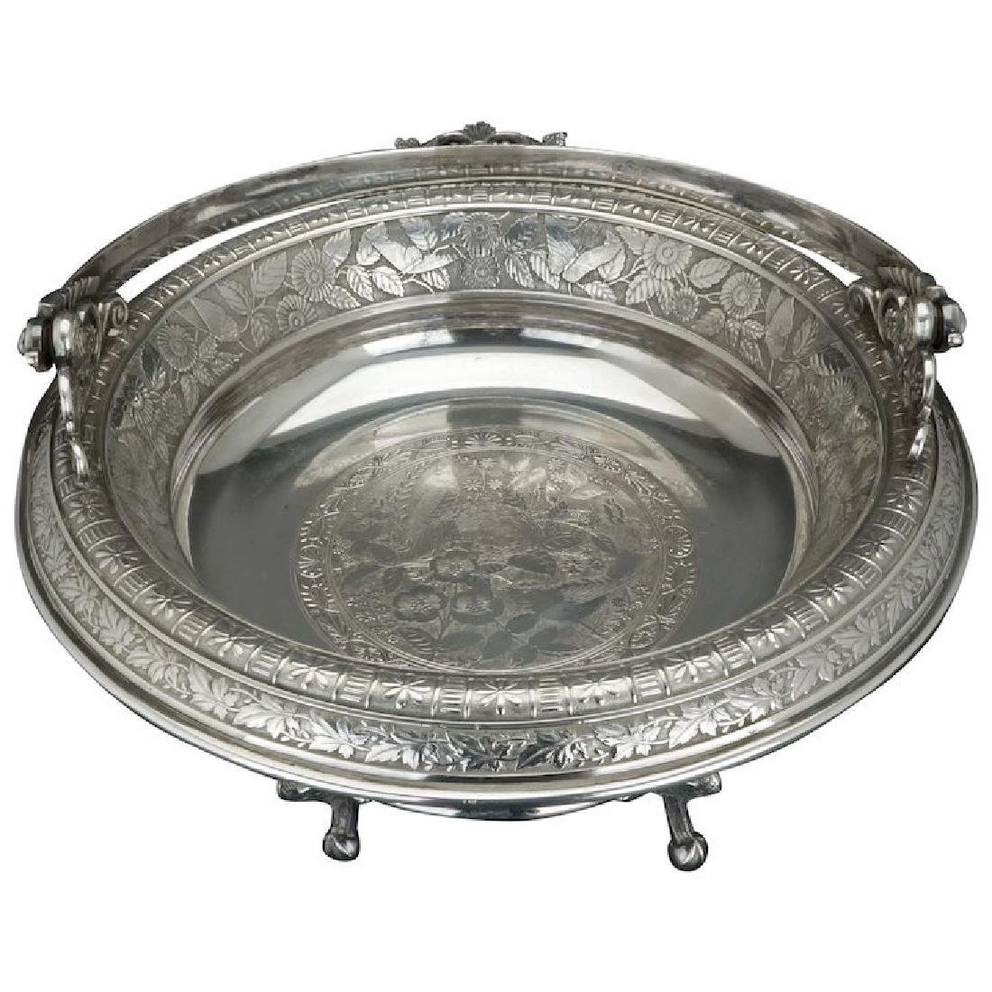 Victorian silver plate cake basket by Rogers and