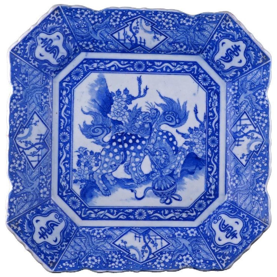 Japanese square porcelain Igezara ware blue and white