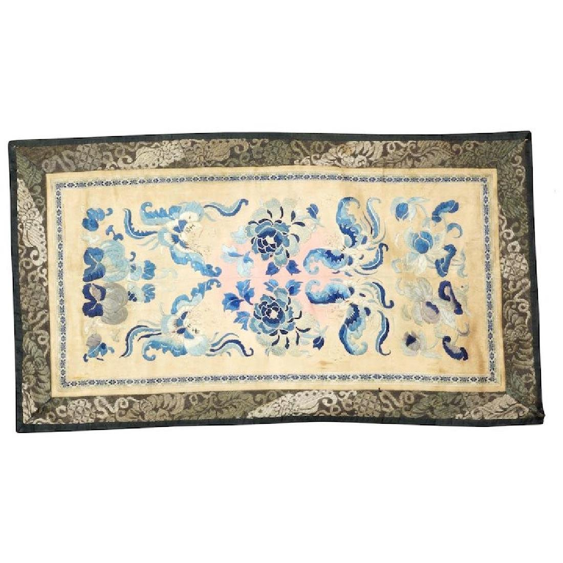 Chinese silk mirror pair of sleeve panels in satin and