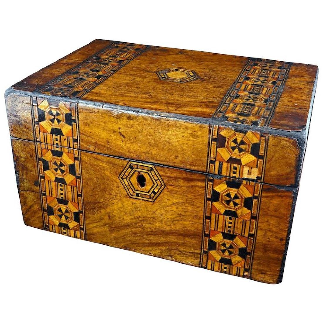 Tunbridge marquetry wood box 19th century
