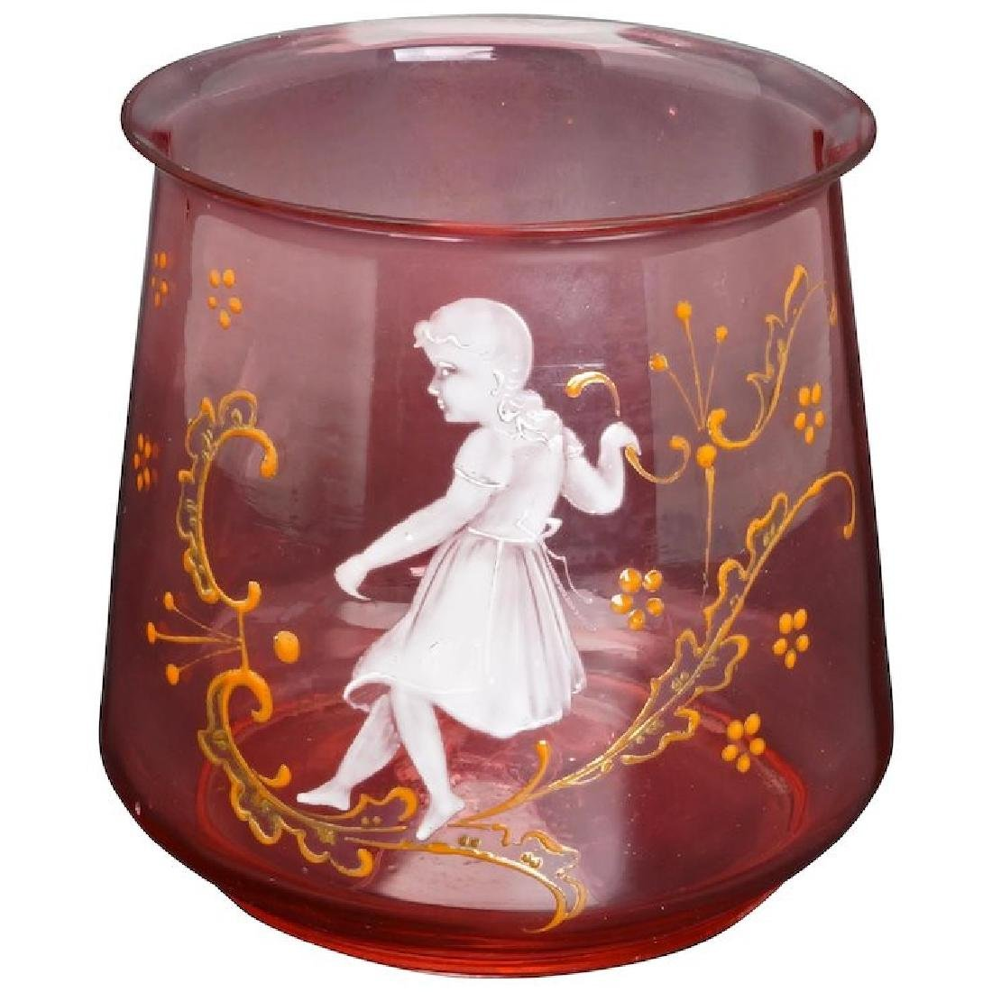 Mary Gregory decorated cranberry glass small vase rose