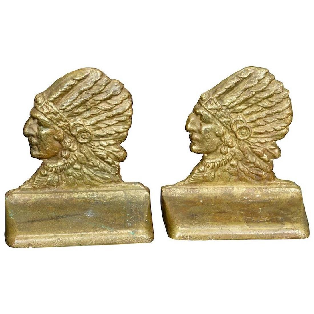 Rare matching pair of Indian Chief profile bronze
