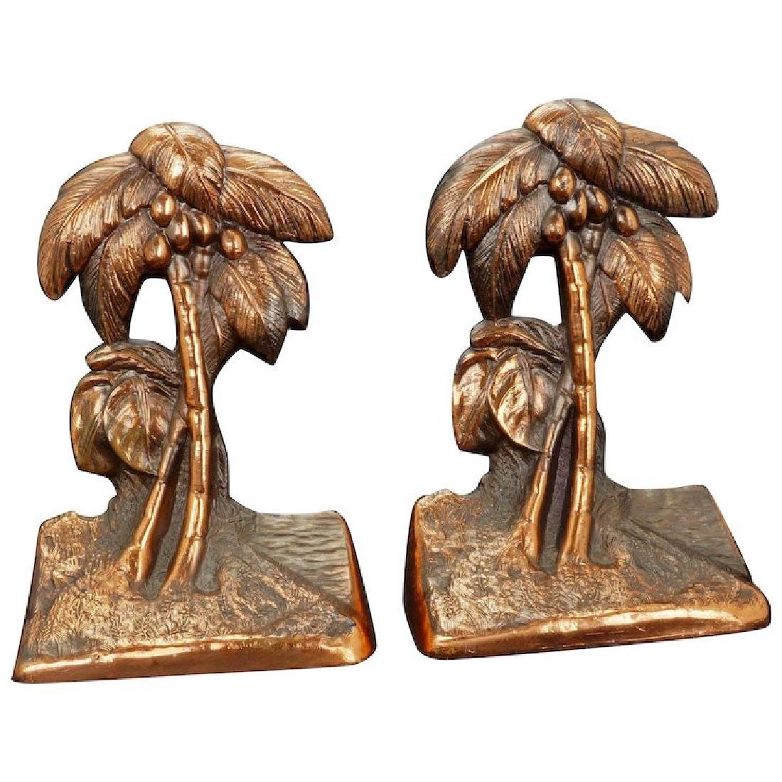 Pair of copper clad metal palm tree bookends circa 1930