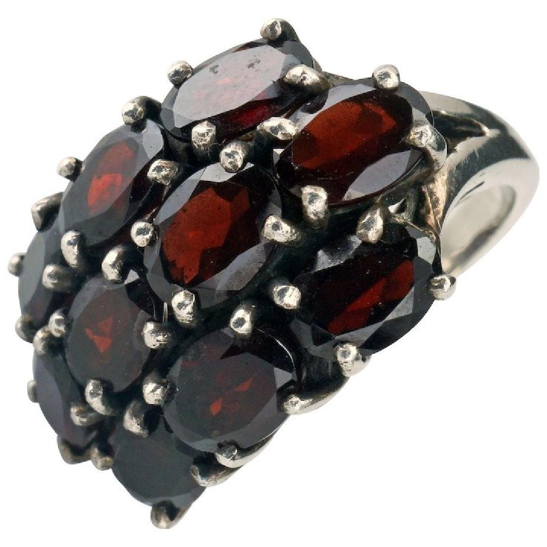 Edwardian .925 Sterling silver ring with large garnets
