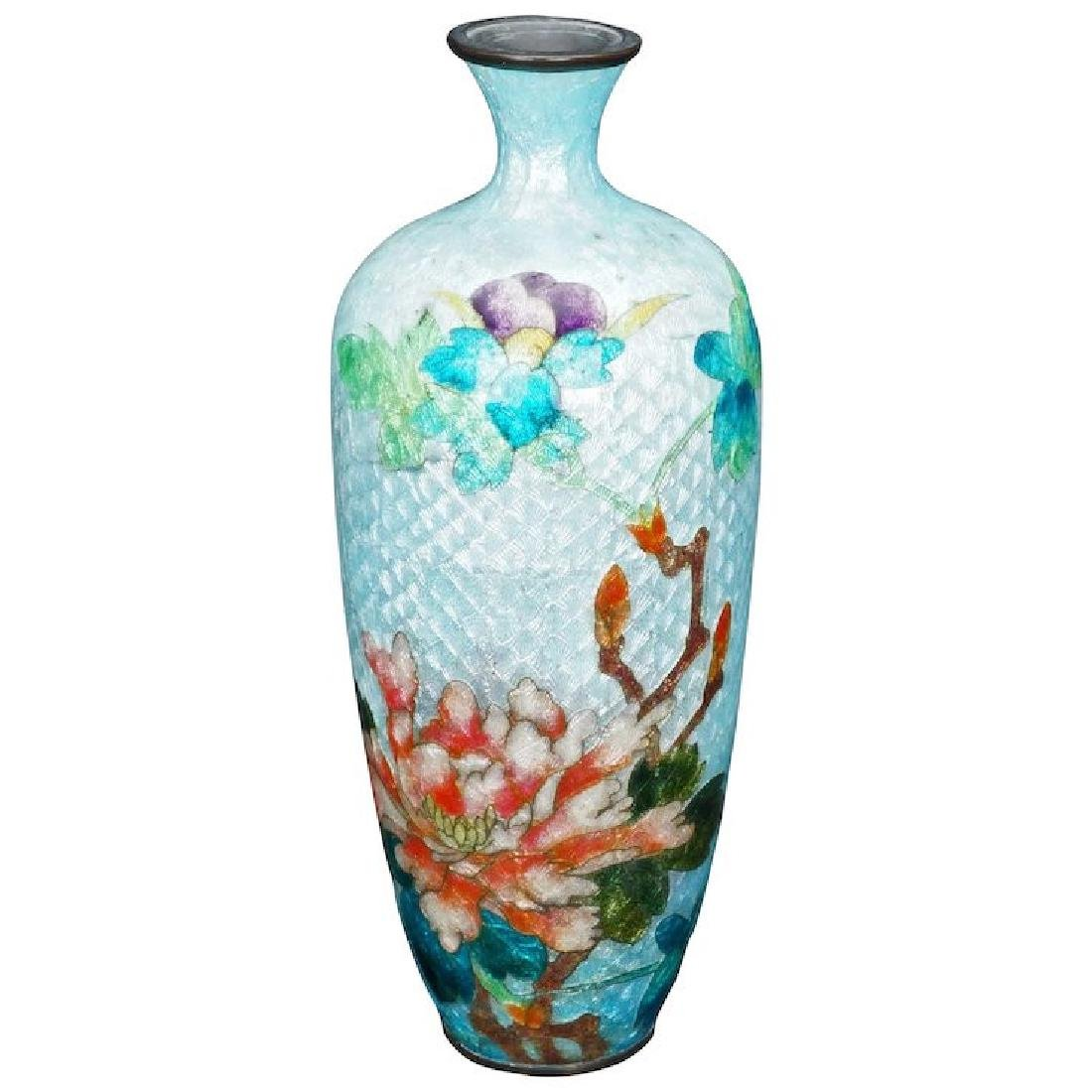 Vintage Japanese Ginbari cloisonné vase with peony