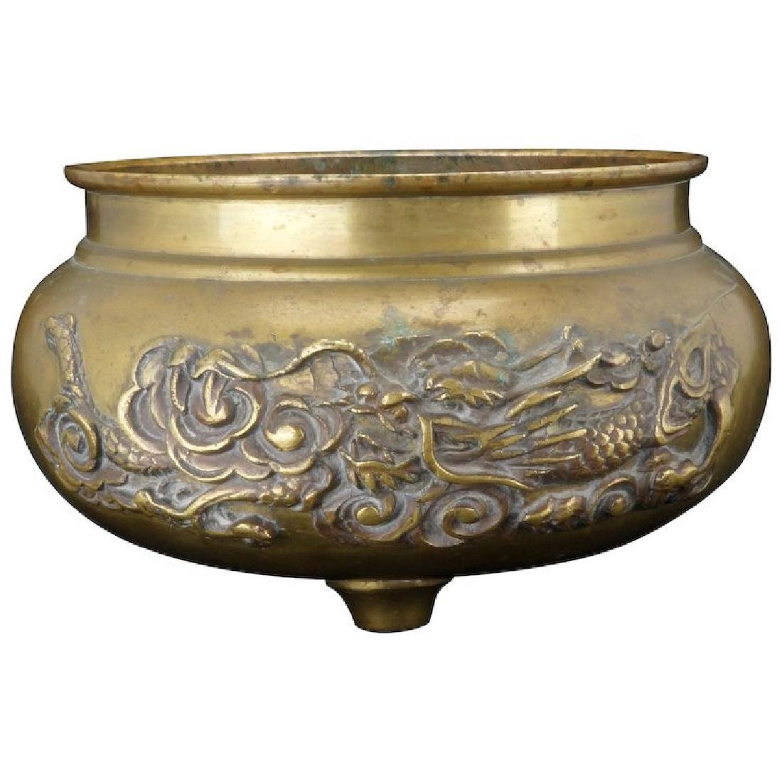 Japanese round brass censer with tripod legs and dragon