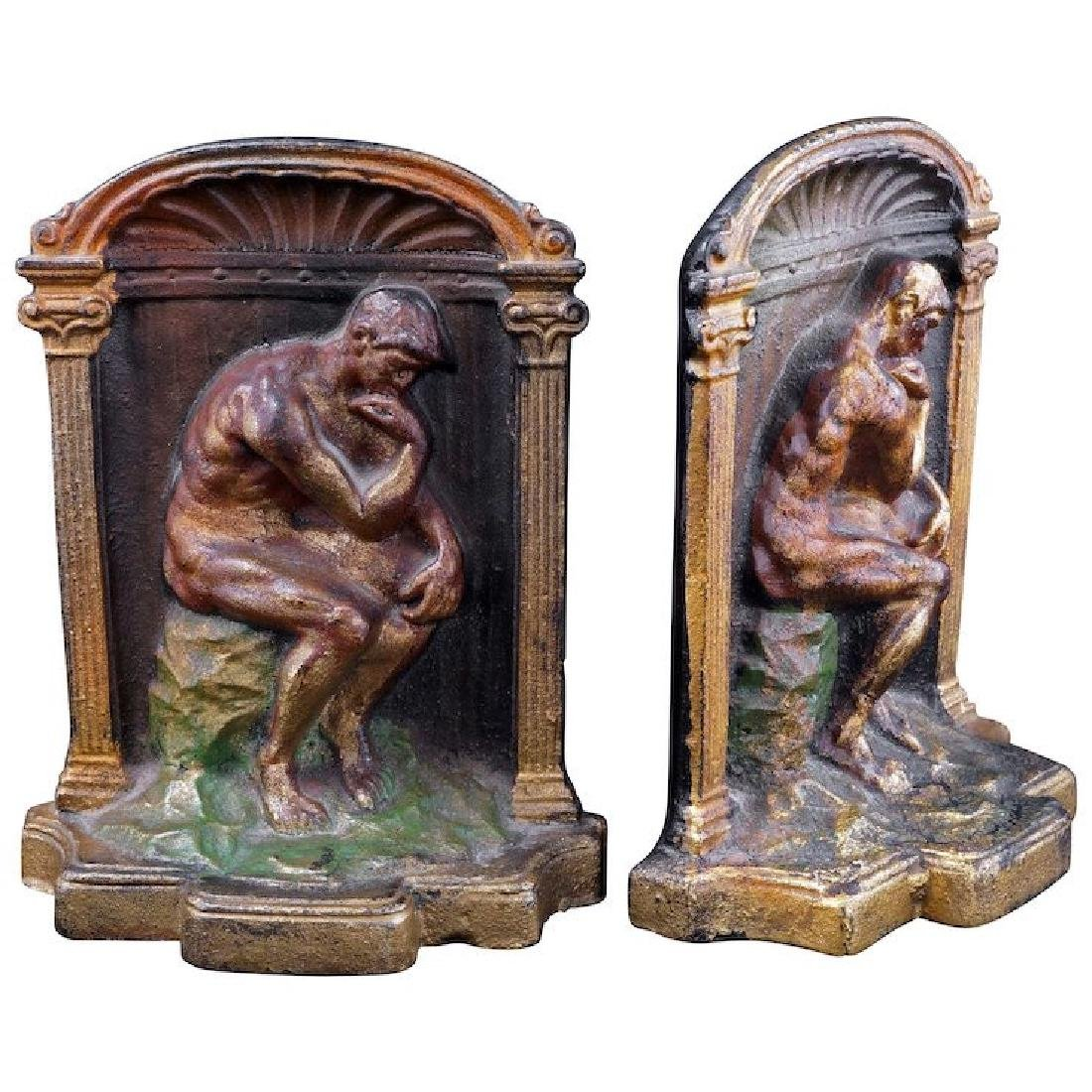 Bronze colorized cast bookends of the Thinker circa