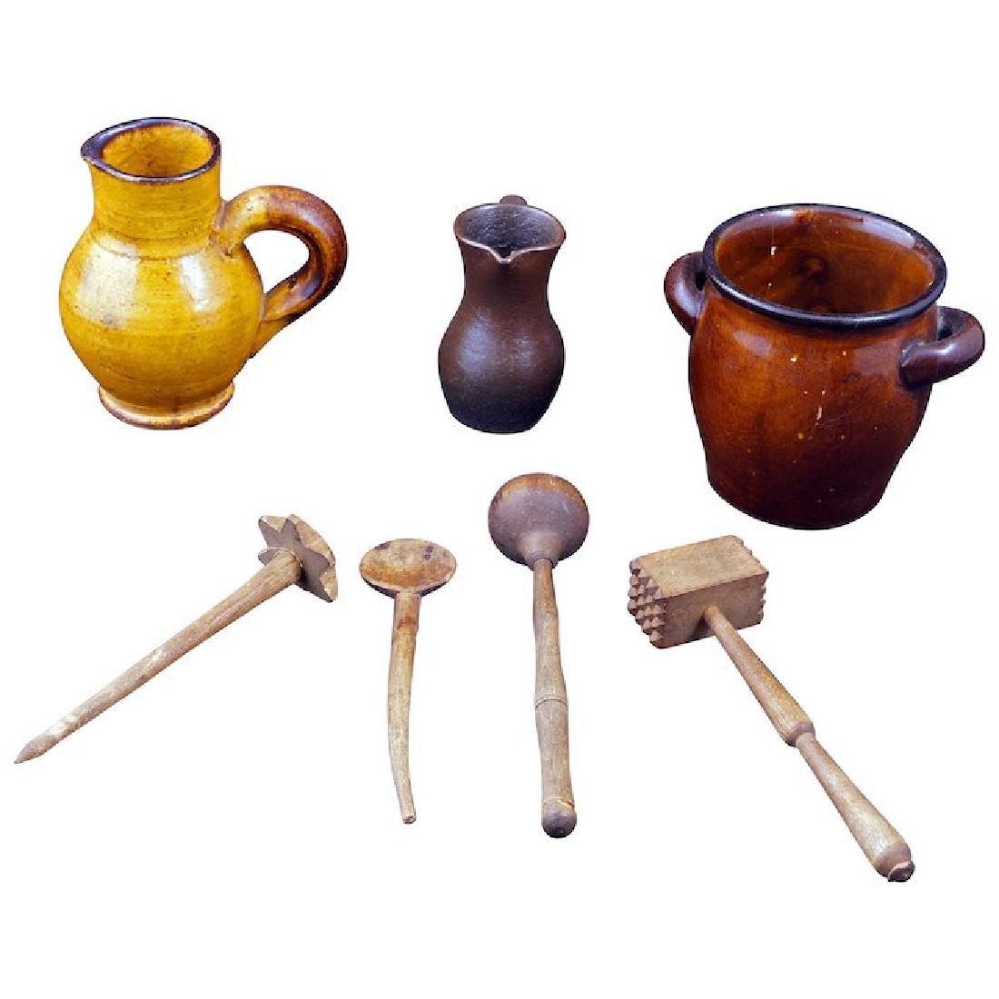 Set of German children's miniature pottery kitchen