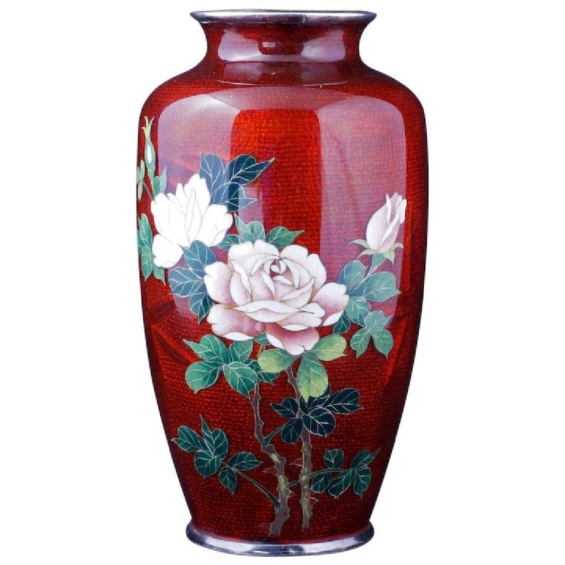 Japanese cloisonné Ginbari vase in red with a rose