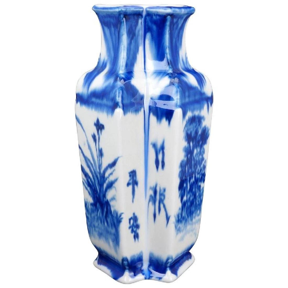 Chinese twin porcelain vase with flow blue cobalt