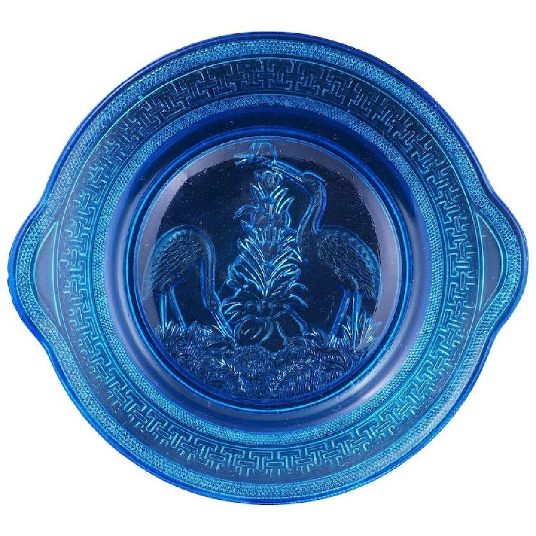 American EAPG pressed glass blue Victorian serving