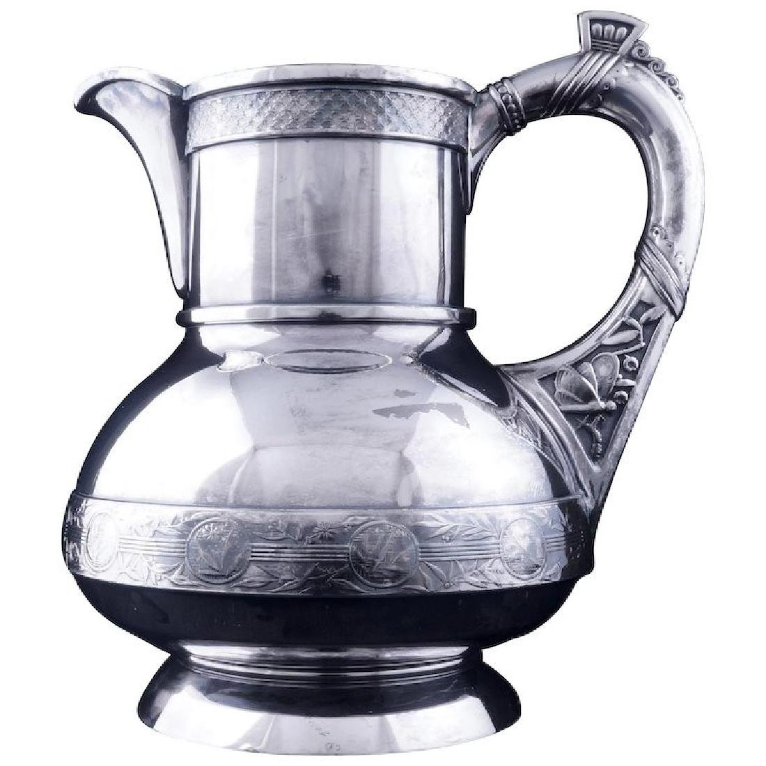 Aesthetic Movement Victorian silver plate pitcher by