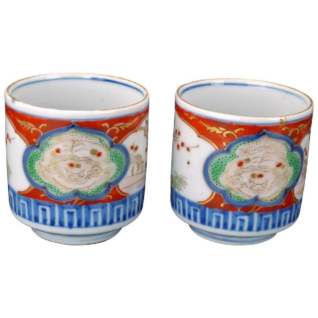 Matched pair of Japanese porcelain colored Imari