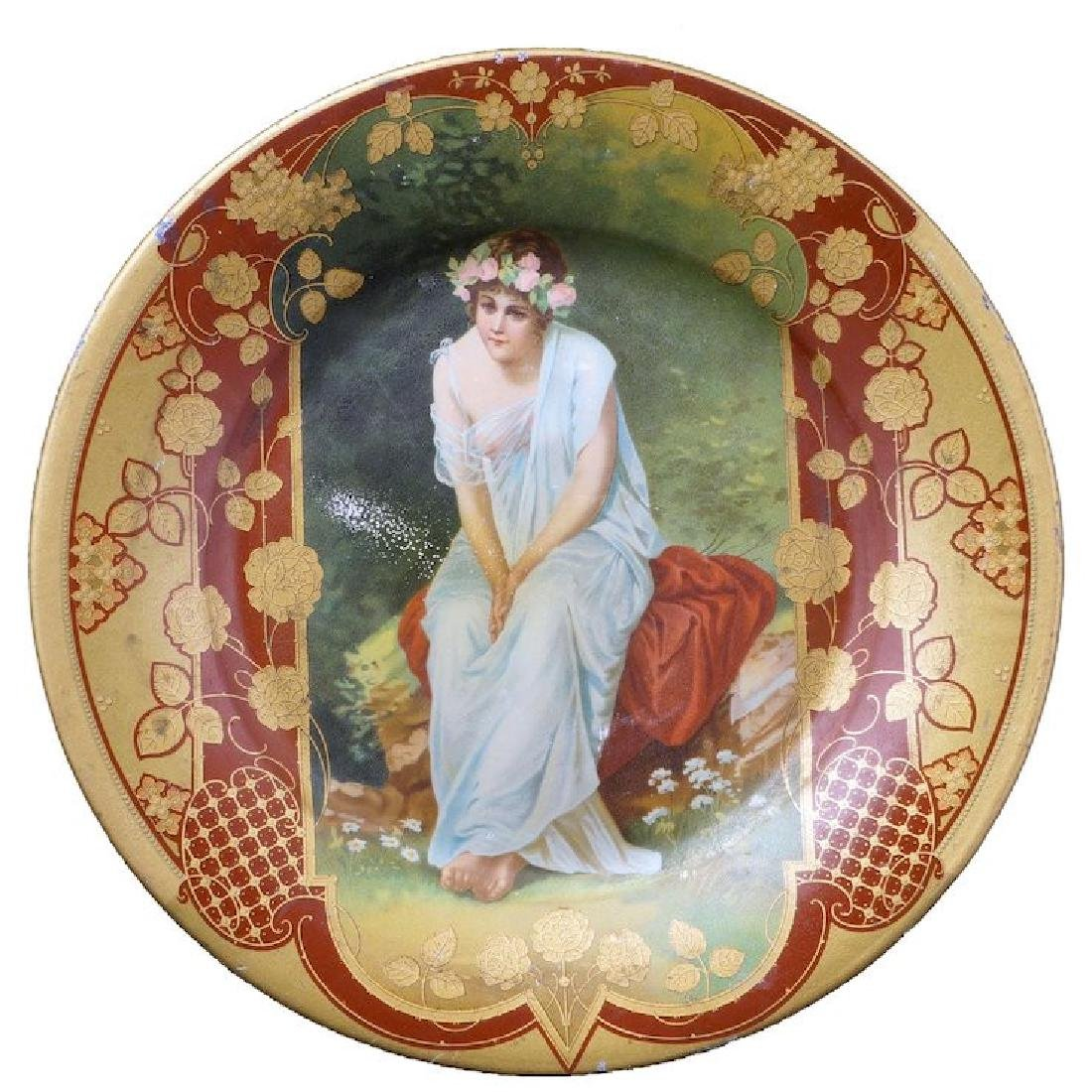 Victorian lithographed tin plate with lady in garden