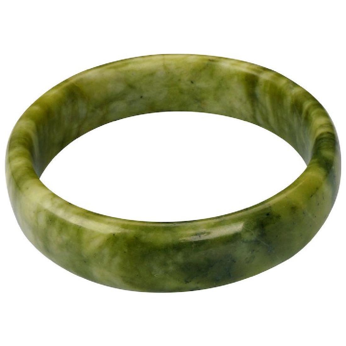 Vintage soft polished Chinese hard stone green bangle