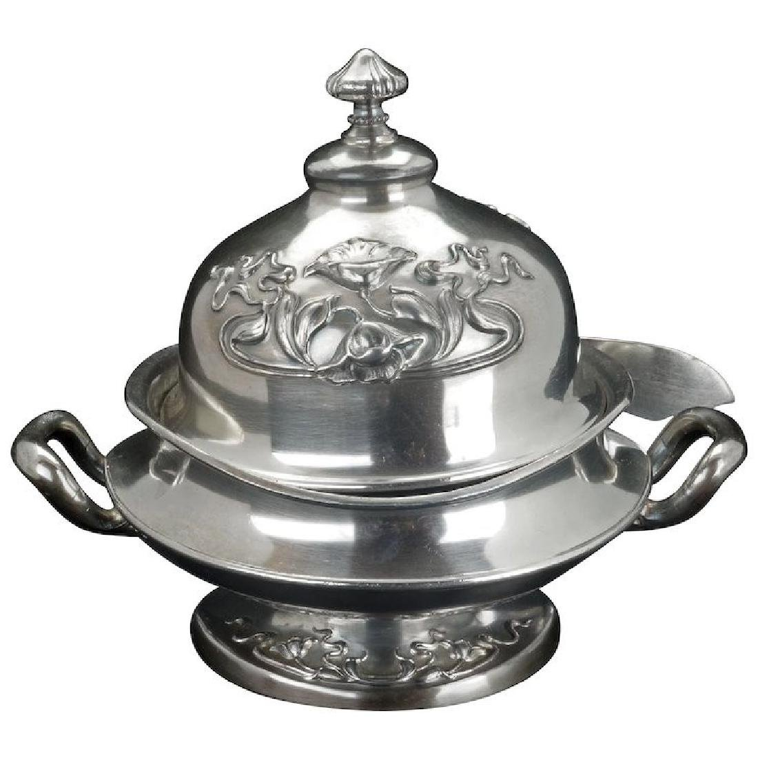 Art Nouveau silver plate butter dish by Forbes Silver