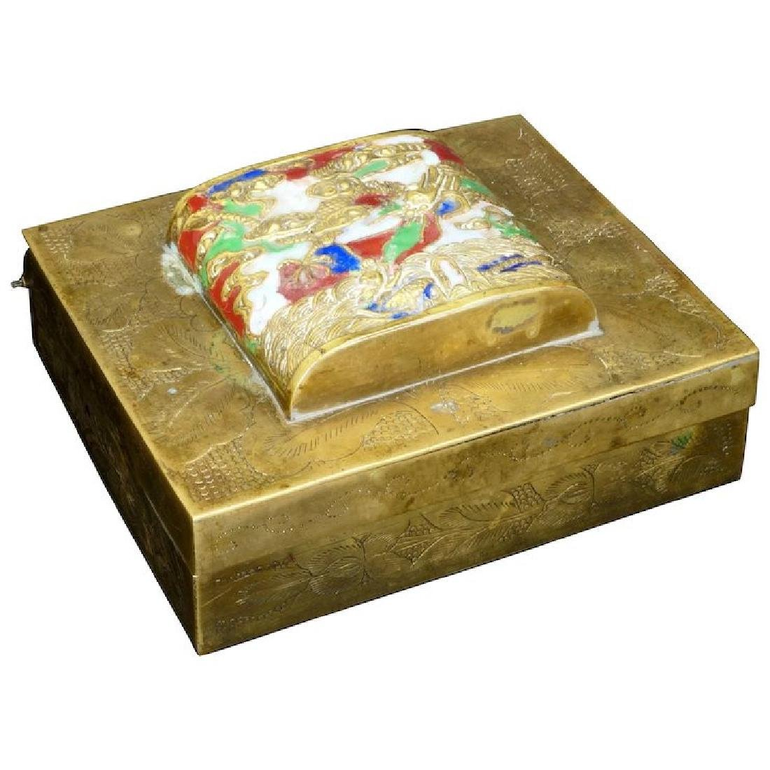 Chinese brass lidded box with enameled design of a