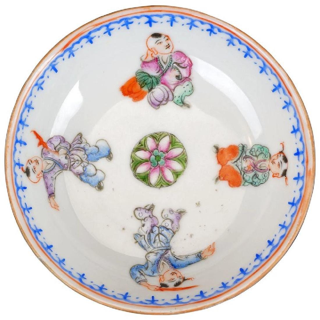Chinese over glaze enamel porcelain saucer with four