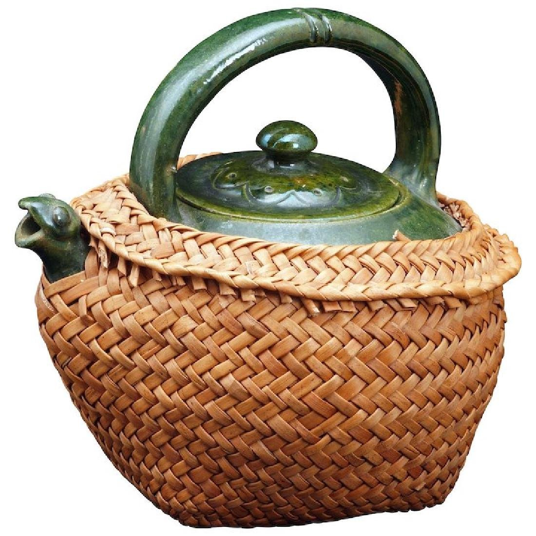 Chinese green glazed teapot with lid, frog spout and