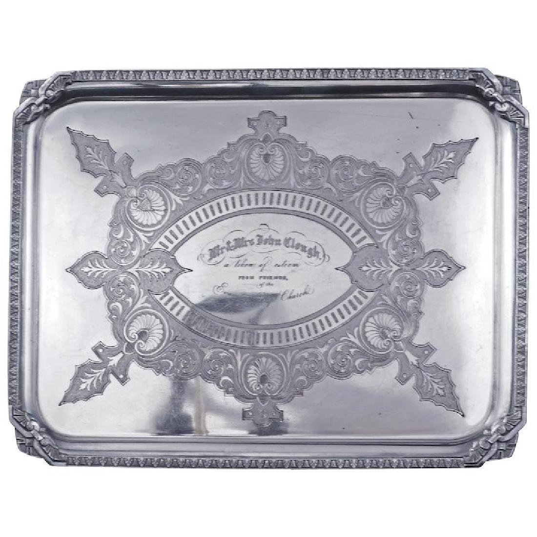 Victorian presentation silver plate tray late 19th