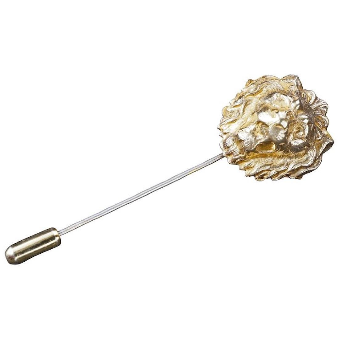 Miriam Haskell stick pin with gilt lion head early 20th