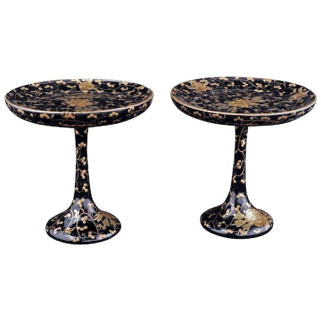 Pair of Japanese lacquered decorative stem cups with