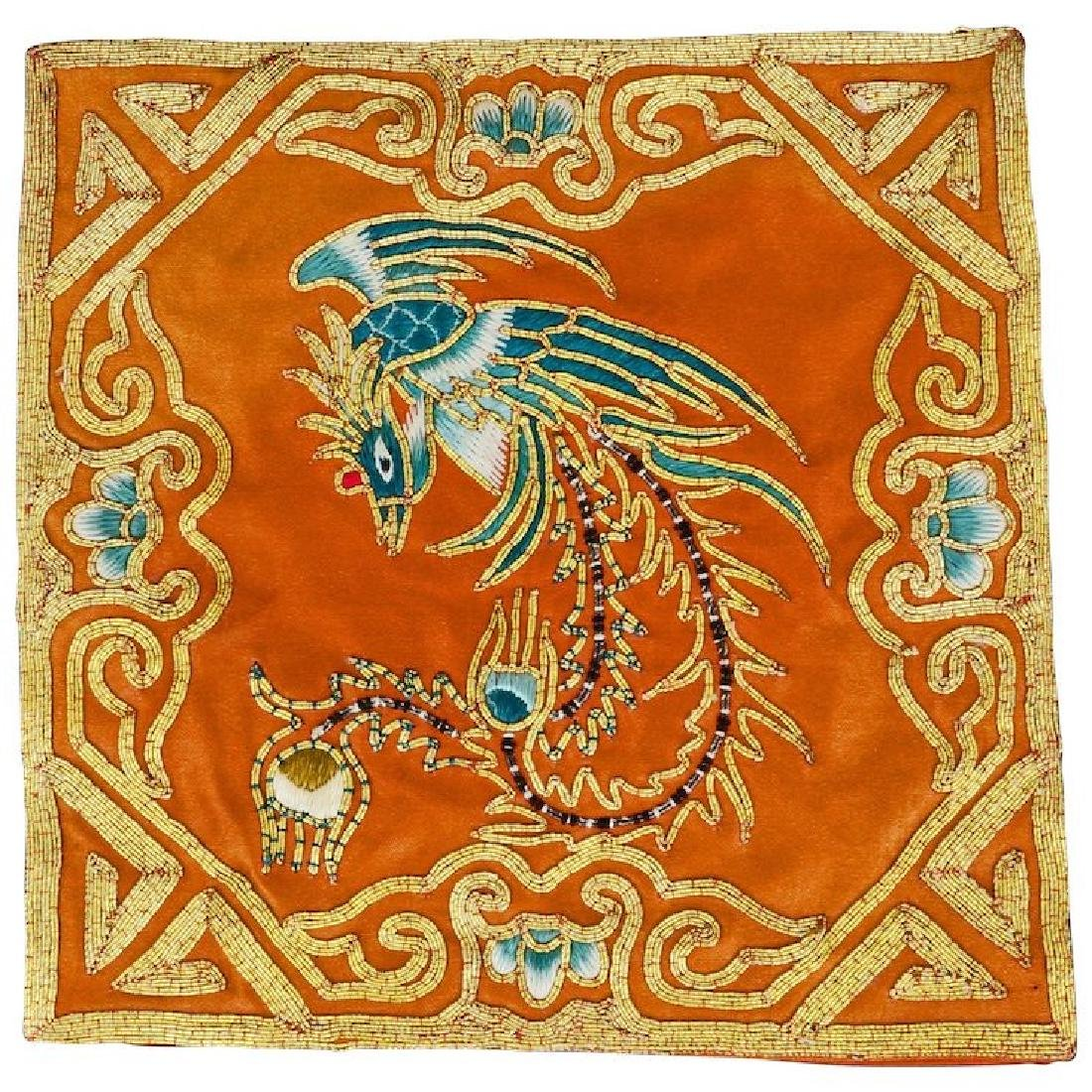 Chinese embroidered square with gilt thread of a