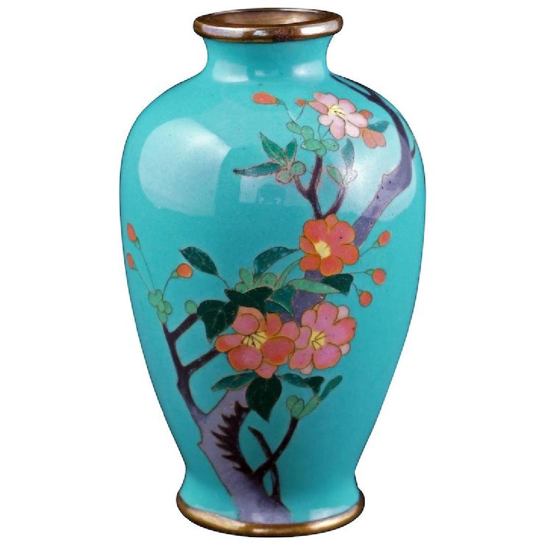 Japanese miniature cloisonné vase with cherry blossoms