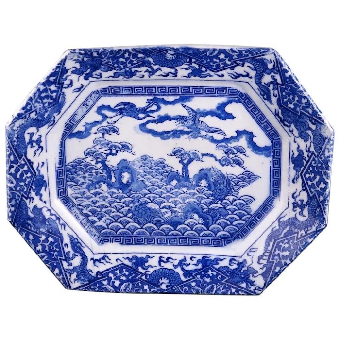 Blue and white Japanese Igezara porcelain stenciled
