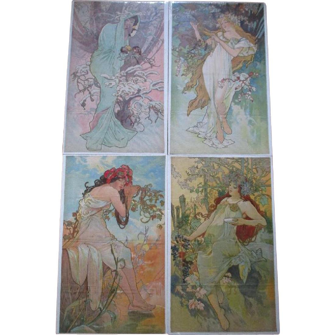 "Rare Set 1896 ""Alphonse Mucha (1860-1939)"" Four Seasons"
