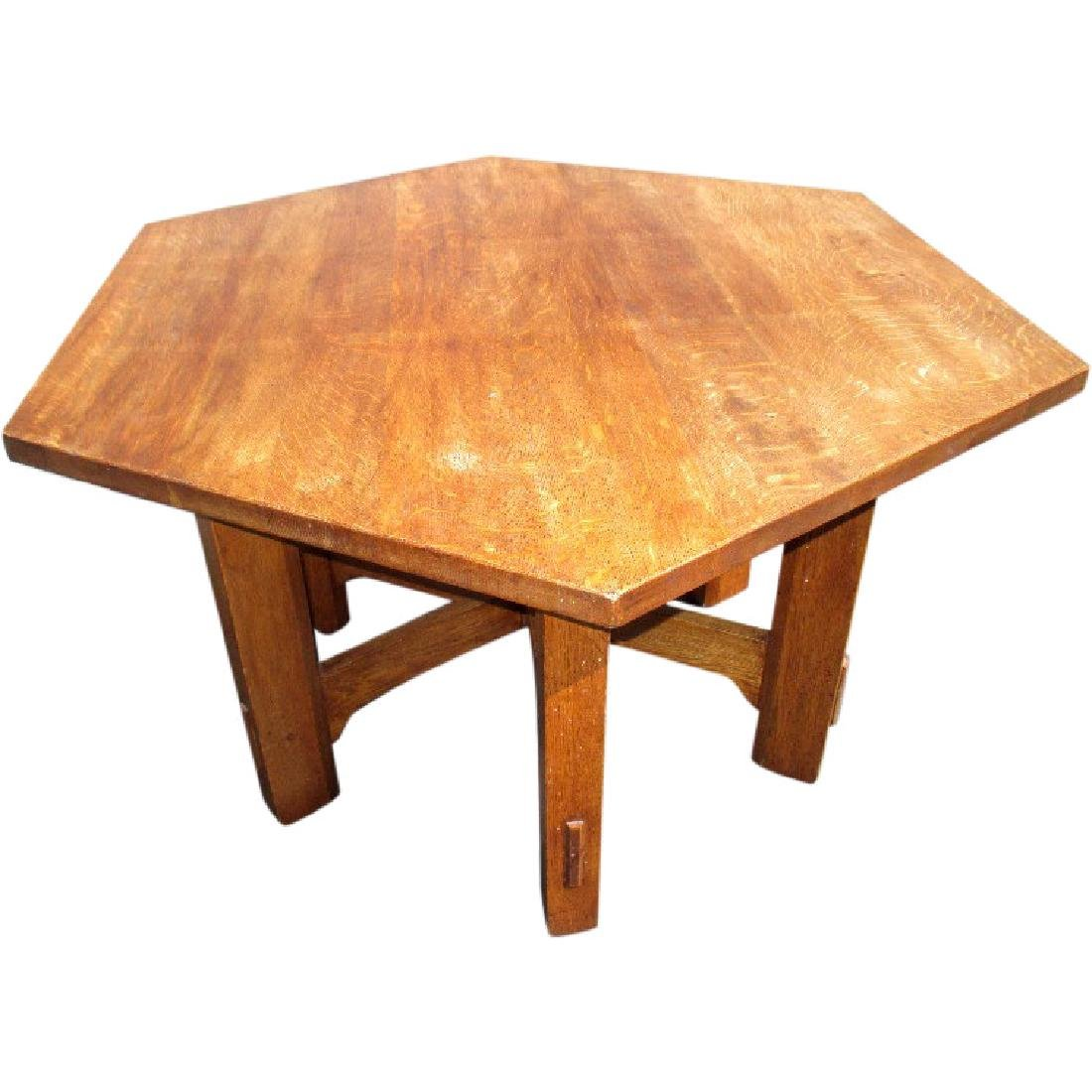 Original Gustav Stickley Hexagonal Library Table - #624