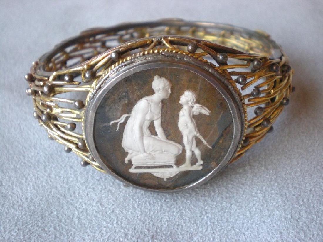 Incredible Vintage 14k Gold and Intaglio Bracelet